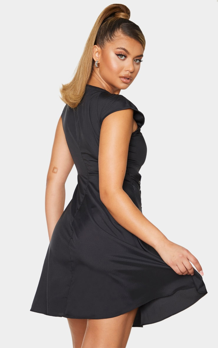Black Ruched Bust Tie Detail Shift Dress 2