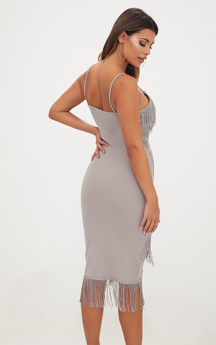 Ice Grey Strappy Tassel Longline Midi Dress 2