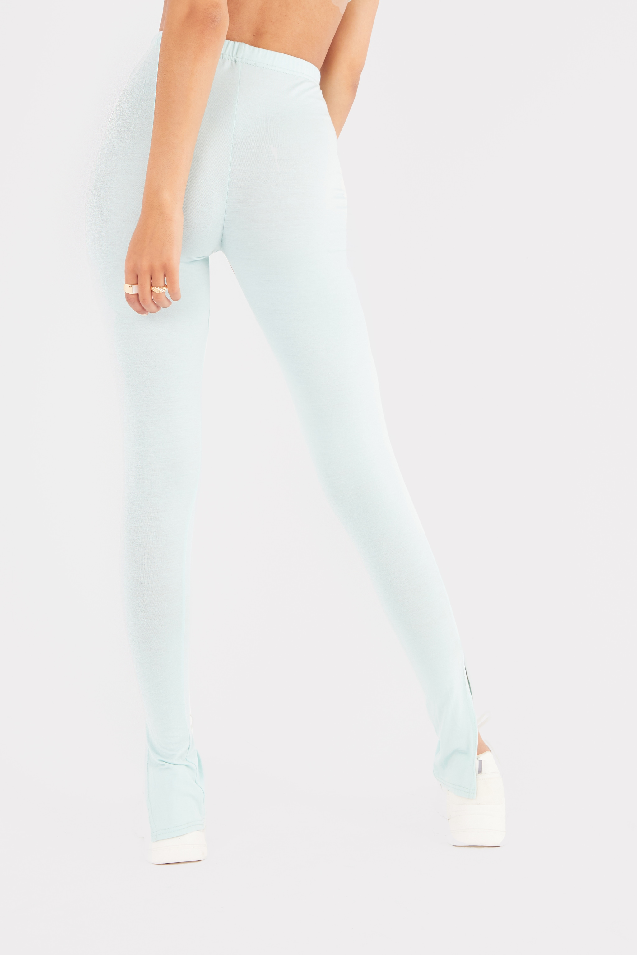 Tall Green Jersey Split Hem Leggings 3