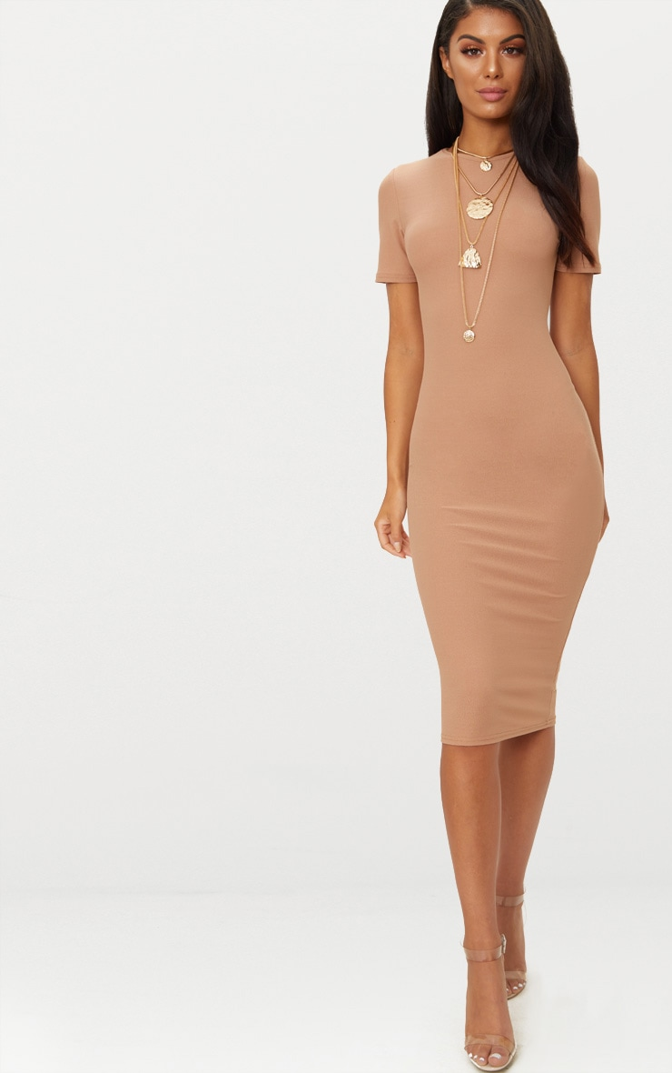 Camel Cap Sleeve Midi Dress
