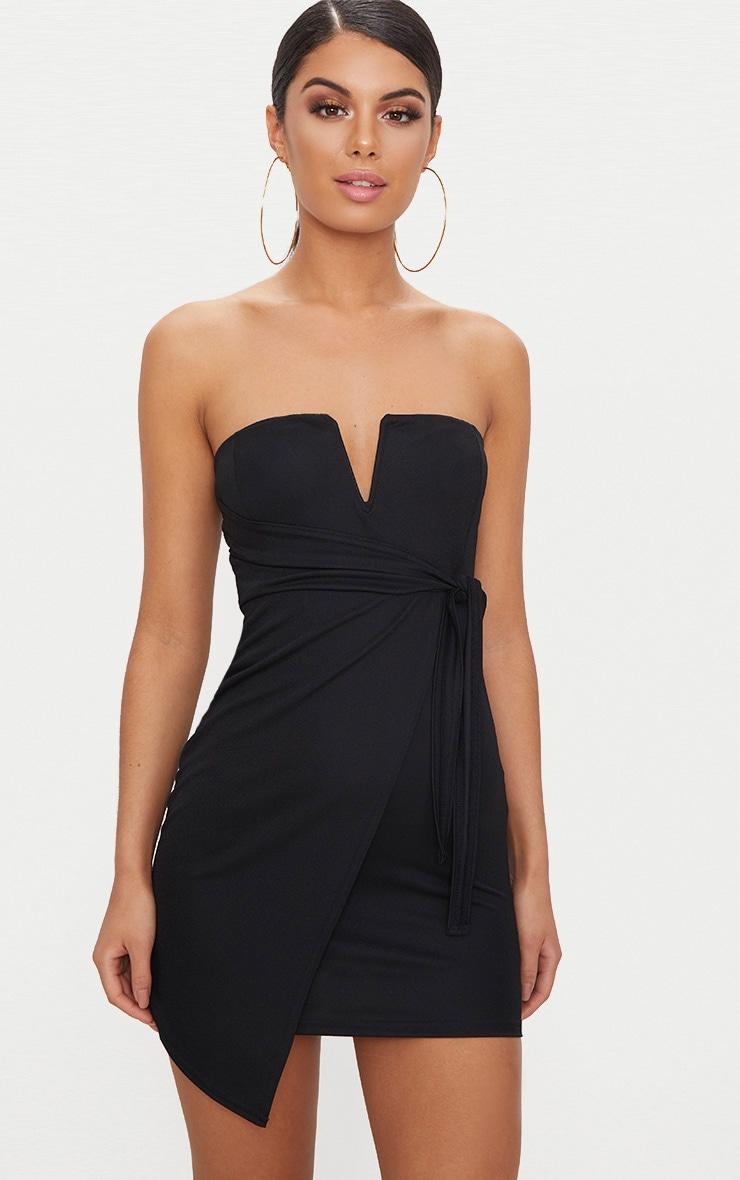 Black V Bar Bandeau Wrap Bodycon Dress 1