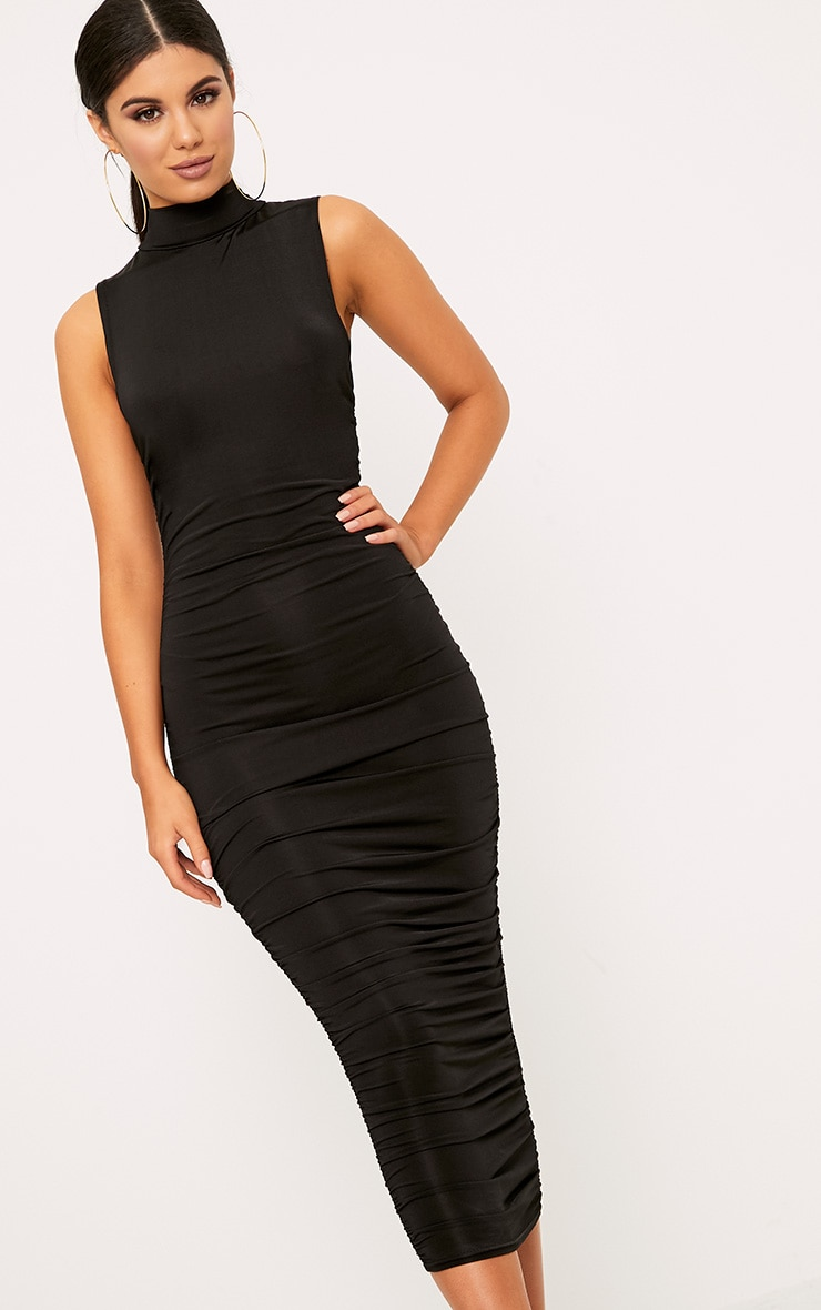 Black Sleeveless Ruched Detail Midi Dress 2