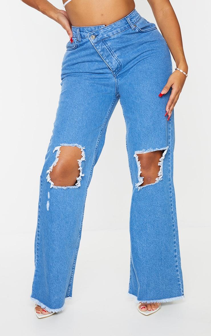 PRETTYLITTLETHING Shape Mid Blue Wash Asymmetric Waist Distressed Straight Leg Jeans 2