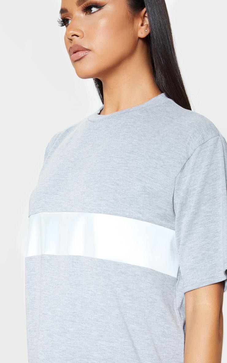 Grey Reflective Panel T Shirt Dress 5
