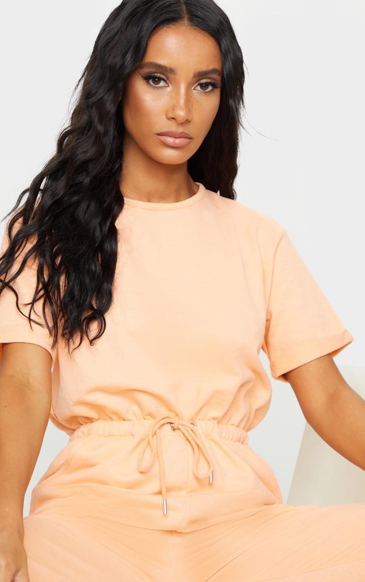 Peach Short Sleeve Sweat Jumpsuit 4