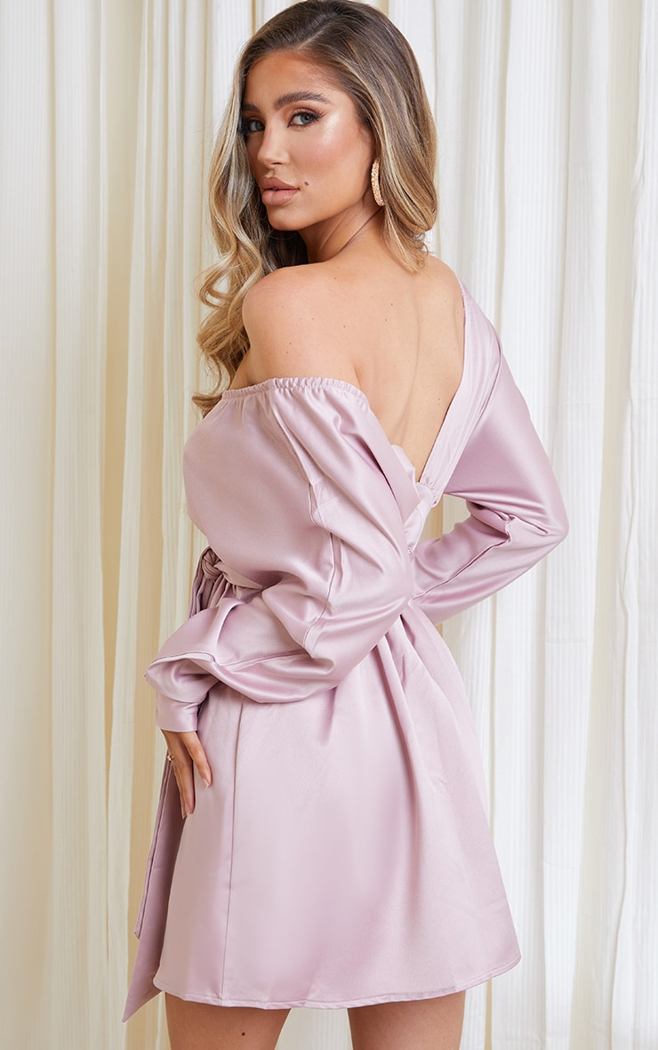 Pink Heavy Satin Off Shoulder Belted Shift Dress 2