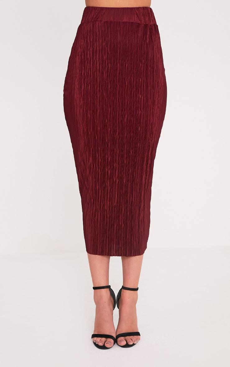 Pernille Burgundy Pleated Long Line Midi Skirt 2