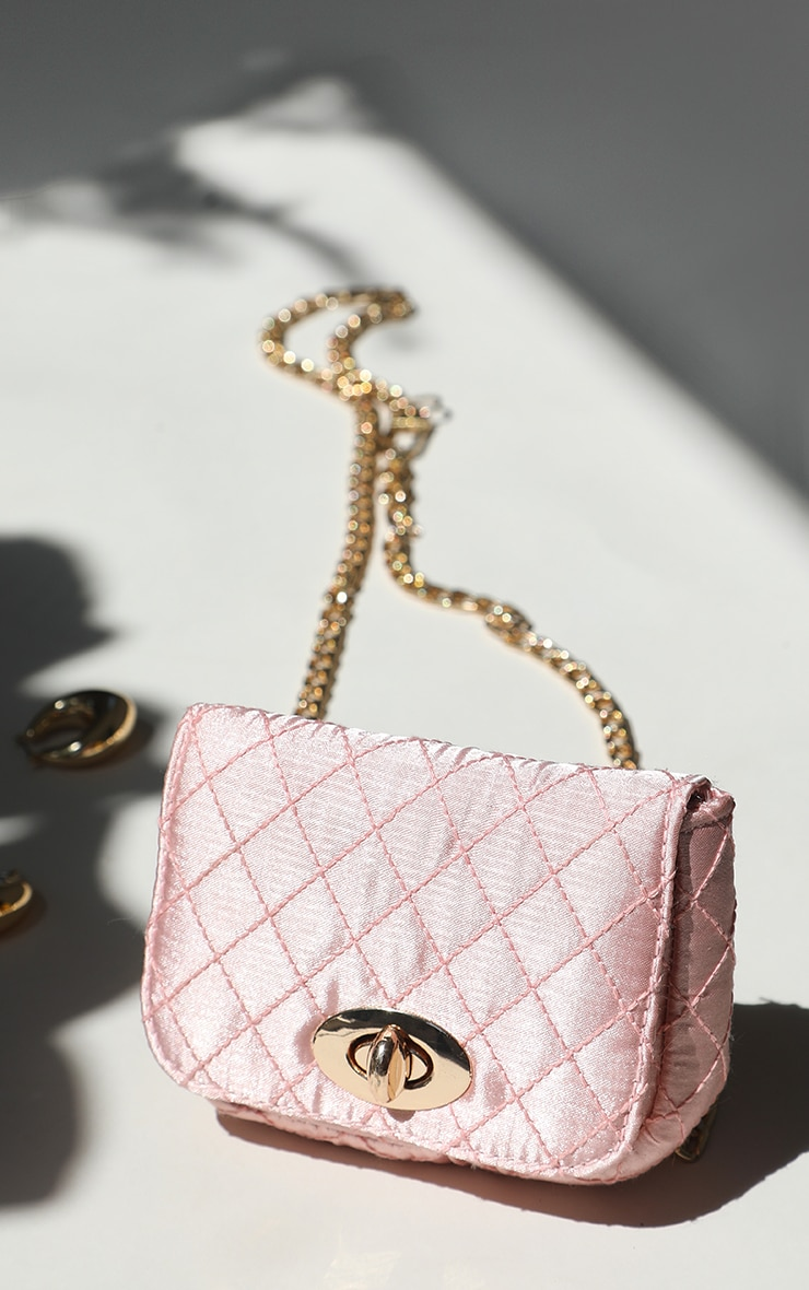 Pink Quilted Bag Gold Chain Belt 1
