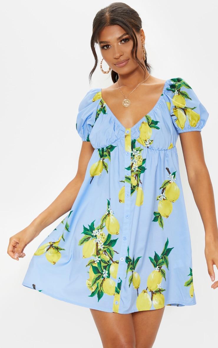 Blue Lemon Print Button Through Ruched Shift Dress 4