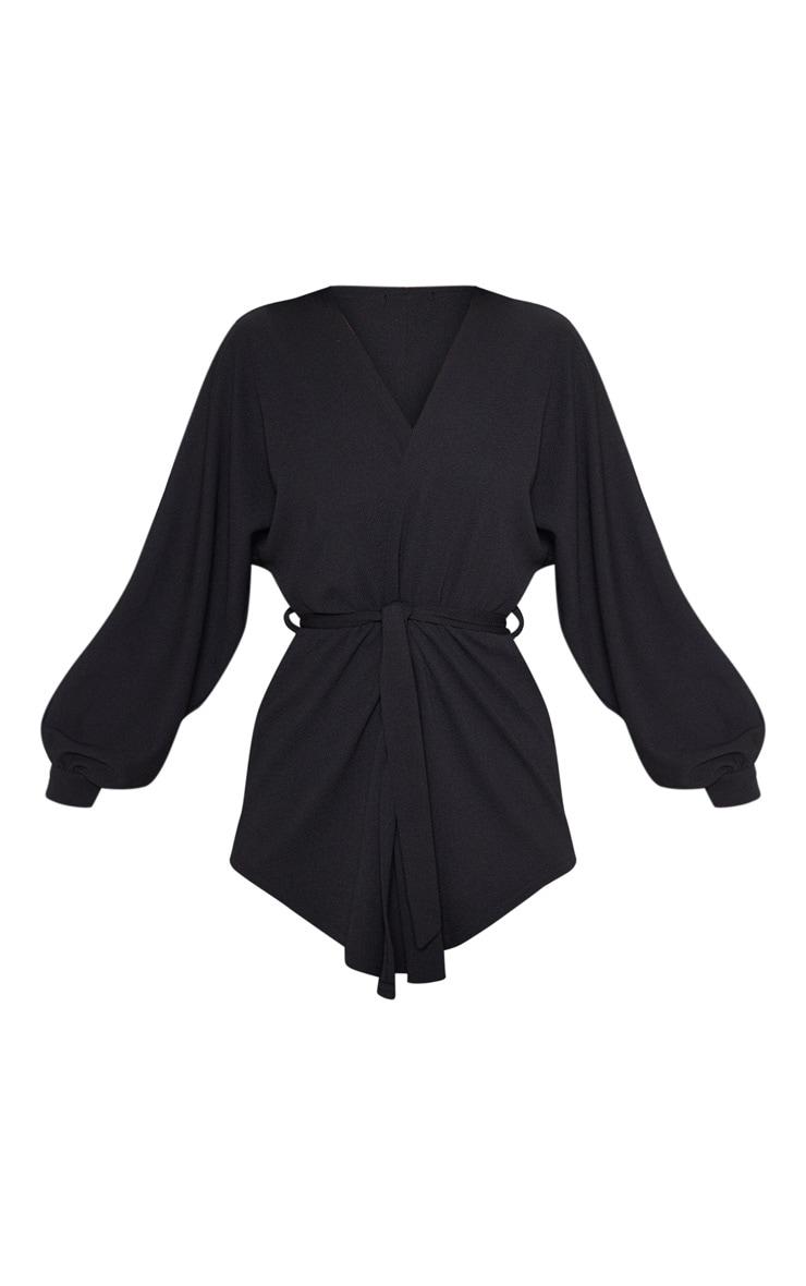 Black Oversized Sleeve Belted Blazer  3