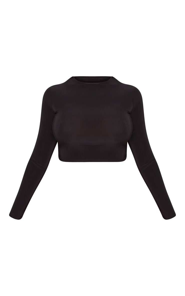 Shape Black Slinky Long Sleeve Crop Top  3