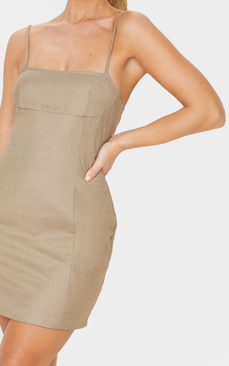 Stone Woven Strappy Seam Detail Bodycon Dress 5