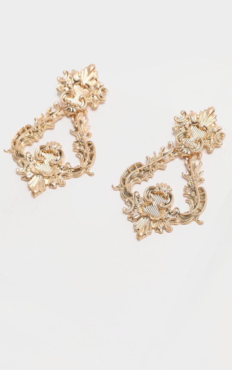Gold Ornate Statement Earrings 3