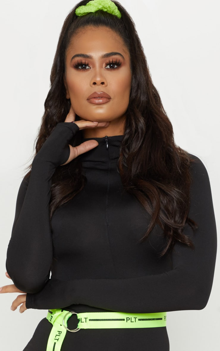 Black Slinky Long Sleeve Zip Up Bodycon Dress 5