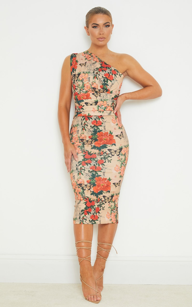 Stone Floral Print One Shoulder Ruched Detail Midi Dress 1