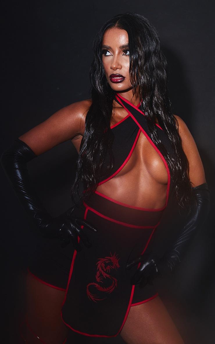 Black Halterneck Red Binding Ninja Romper 4