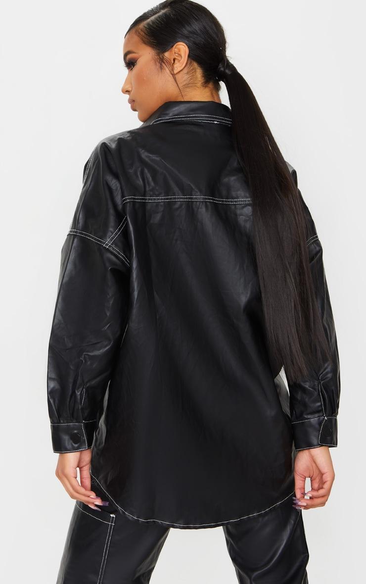 Black PU Contrast Stitch Denim Shirt 2