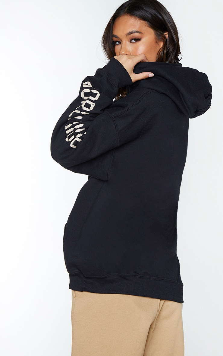 Black Worldwide Oversized Slogan Hoodie 2