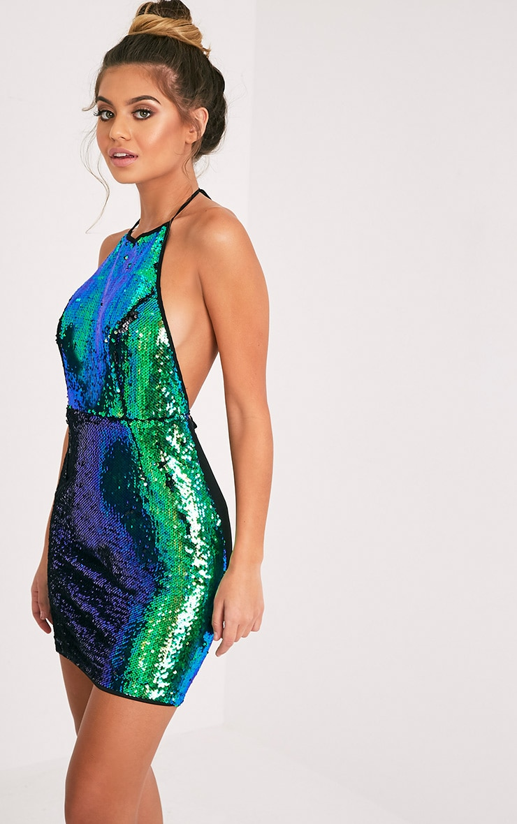 Jeseme Green Sequin Front Bodycon Dress