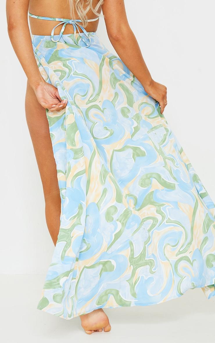 Multi Abstract Print Trim Split Maxi Beach Skirt 3