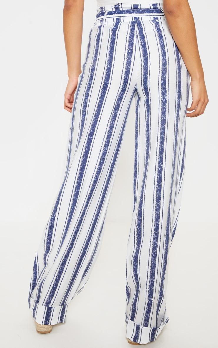 Navy Stripe Belt Waist Wide Leg Pants 4