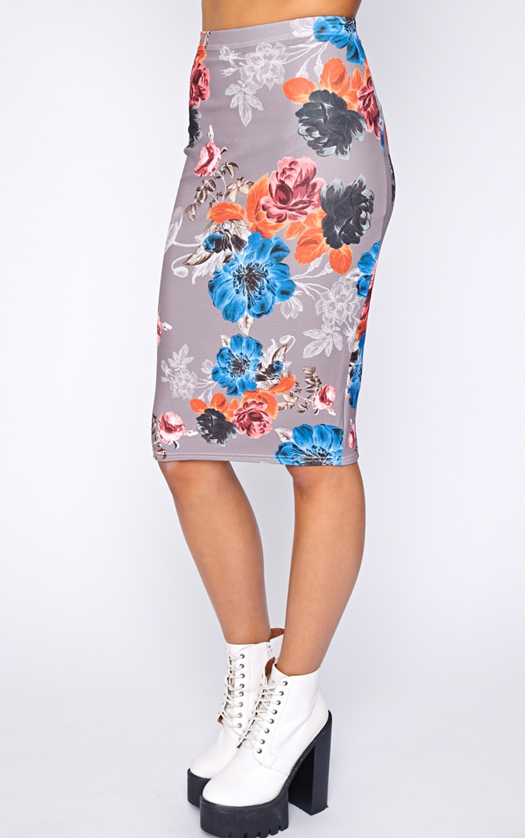 Juliette Mocha Floral Midi Skirt  5
