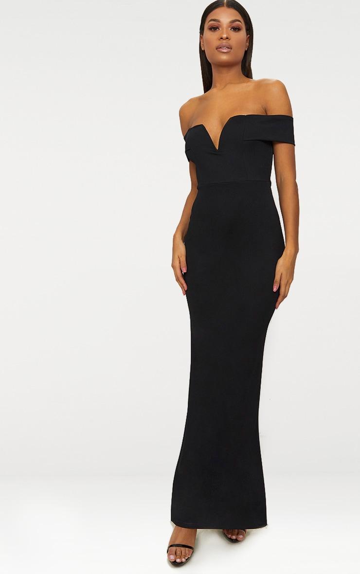 Black Bardot V Plunge Maxi Dress 1