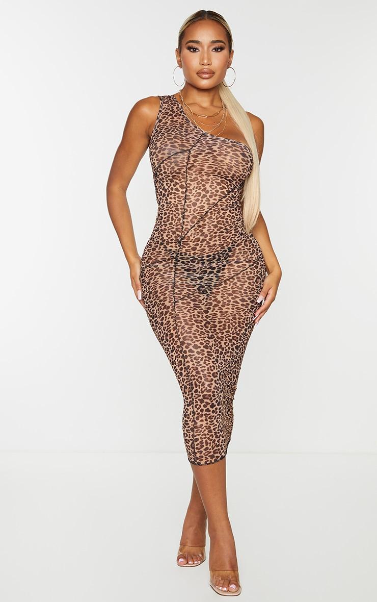 Shape Brown Leopard Print Sheer Mesh Overlock One Shoulder Midi Dress 1