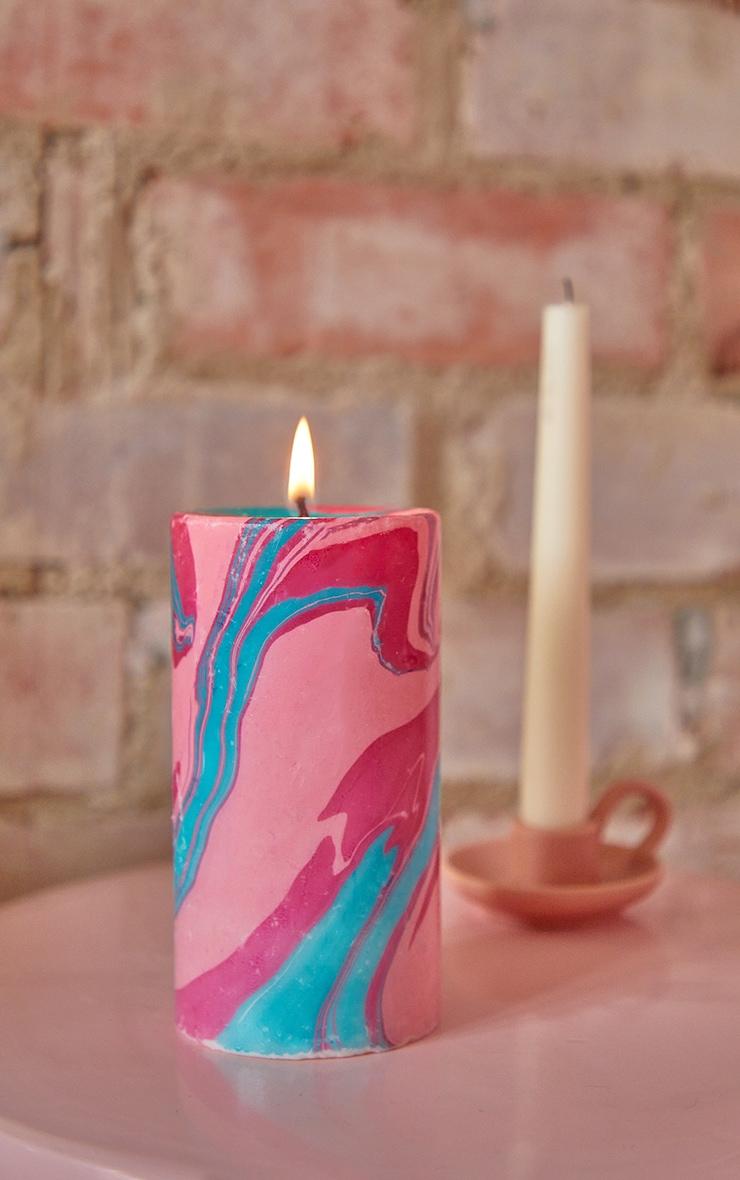 Multi Neon Tropics Marble Candle 1