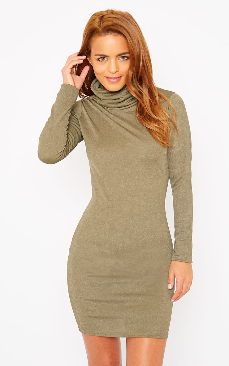 Catrina Khaki Roll Neck Dress 4
