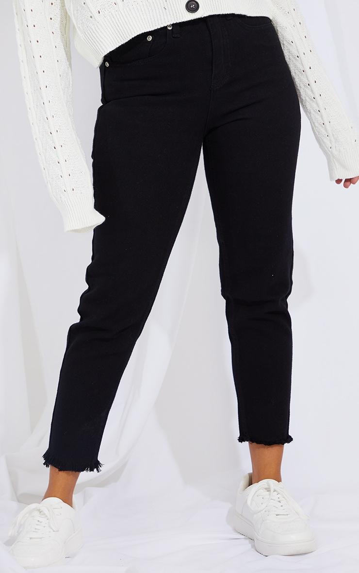 Petite Black Denim Raw Hem Straight Leg Jeans 2