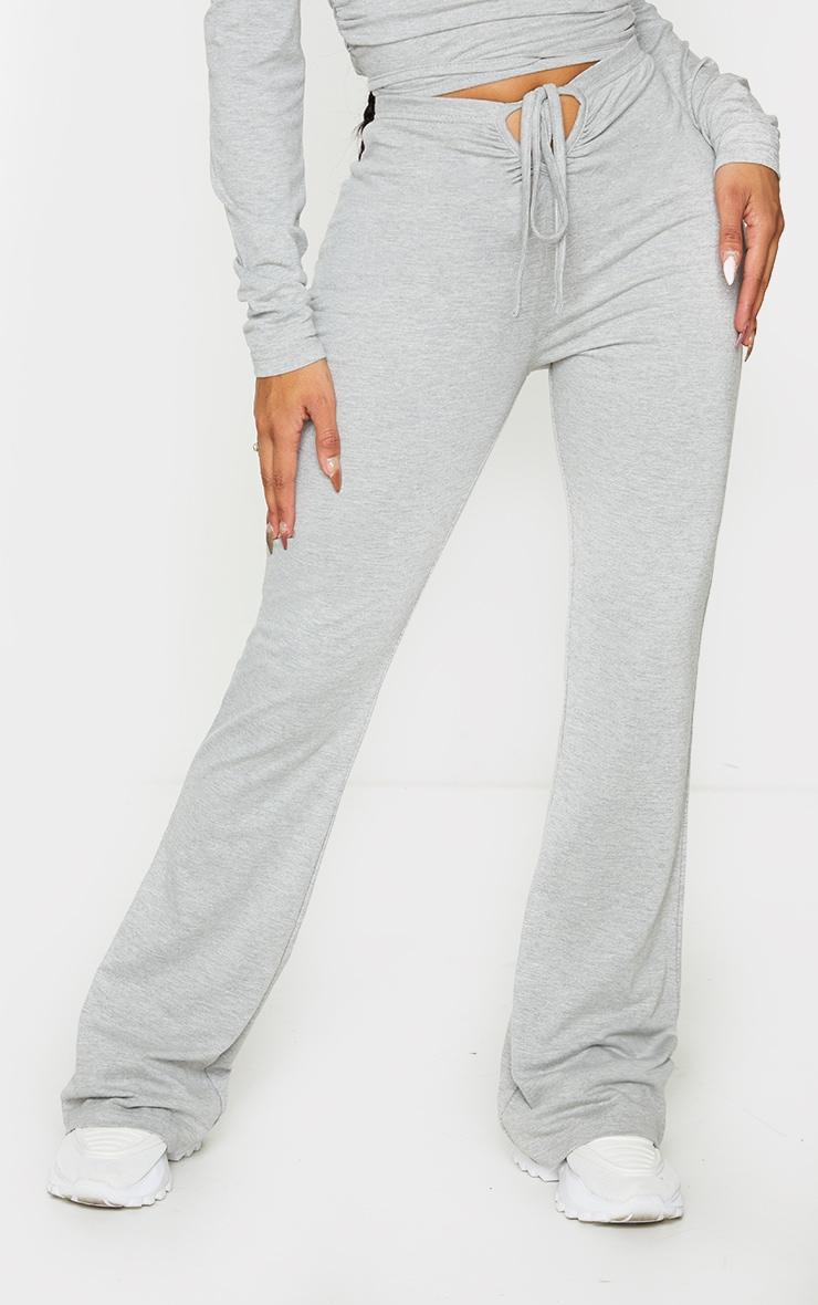 Shape Grey Cotton Tie Front Wide Leg Trousers 2