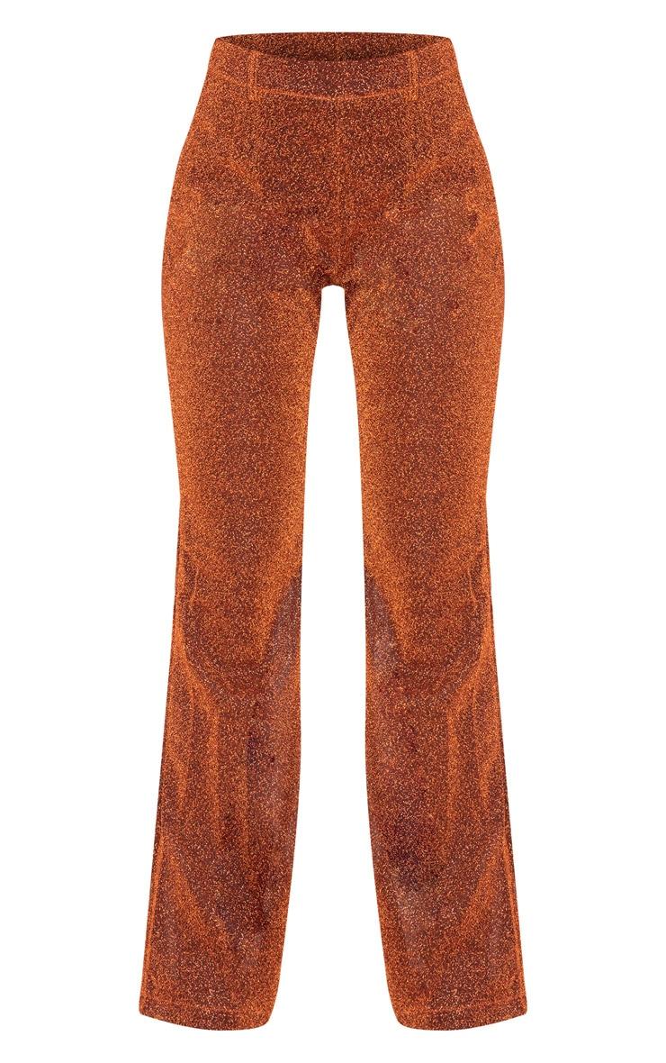 Rust Glitter Sheer Flared Leg Pants  3