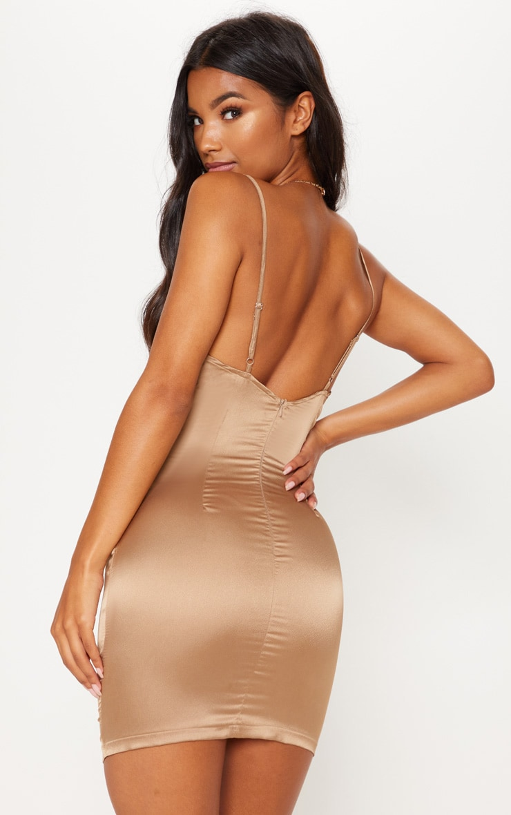 Champagne Satin Cowl Neck Ring Detail Bodycon Dress 3