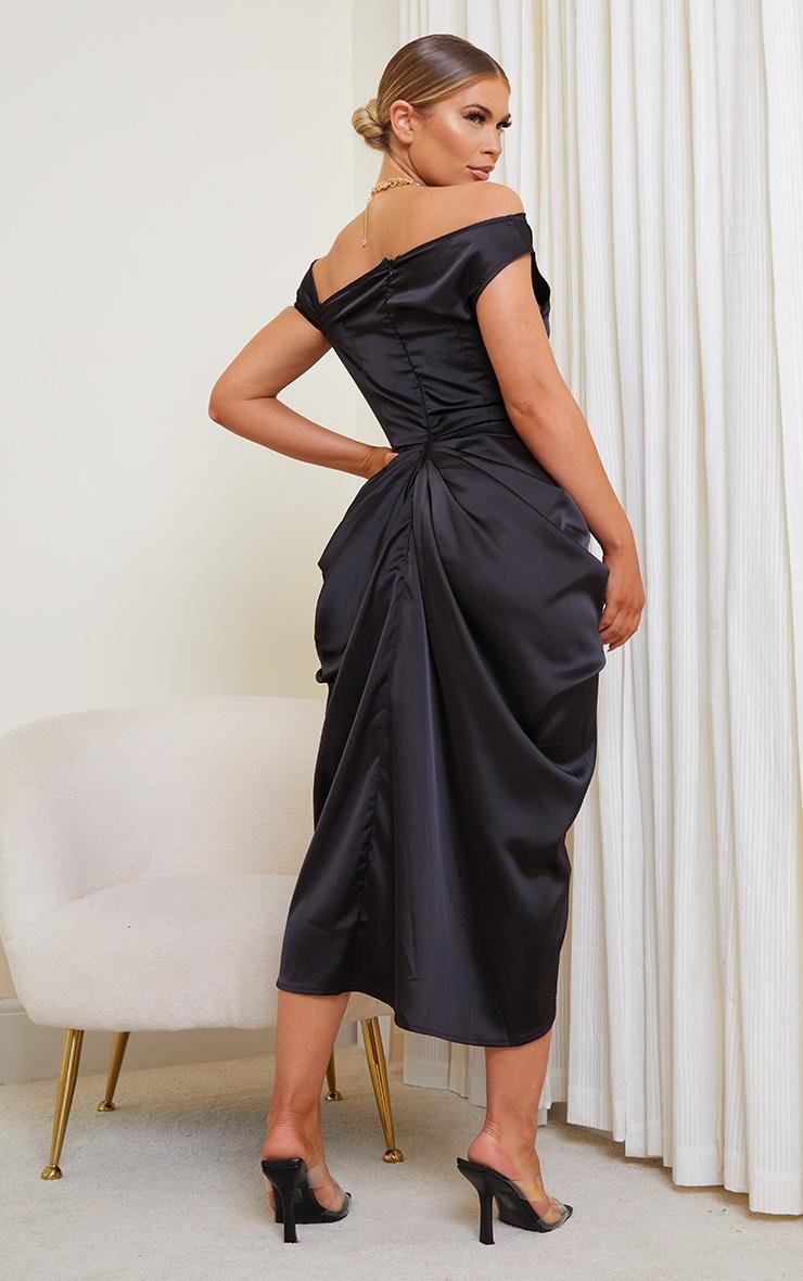 Black Satin Off The Shoulder Draped Skirt Midi Dress 2
