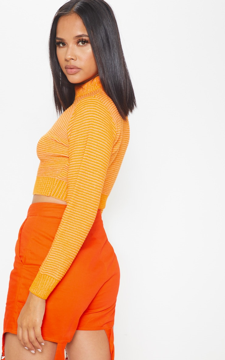 Orange Ribbed Cropped Knitted Jumper 2