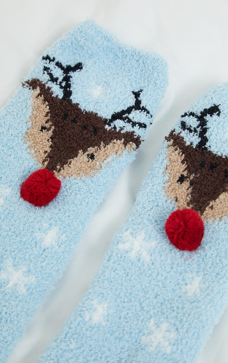 Blue Reindeer Sleep Socks In A Box Gift 3