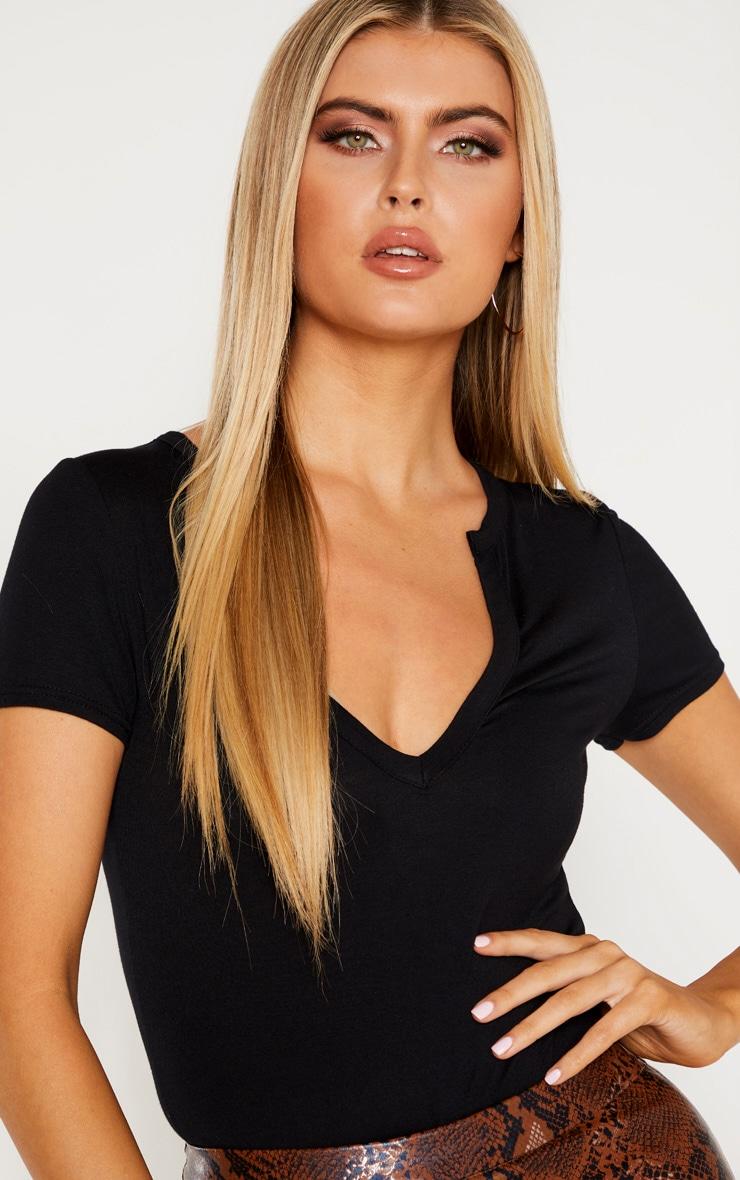 Tall Black Basic Plunge Short Sleeve Bodysuit 5
