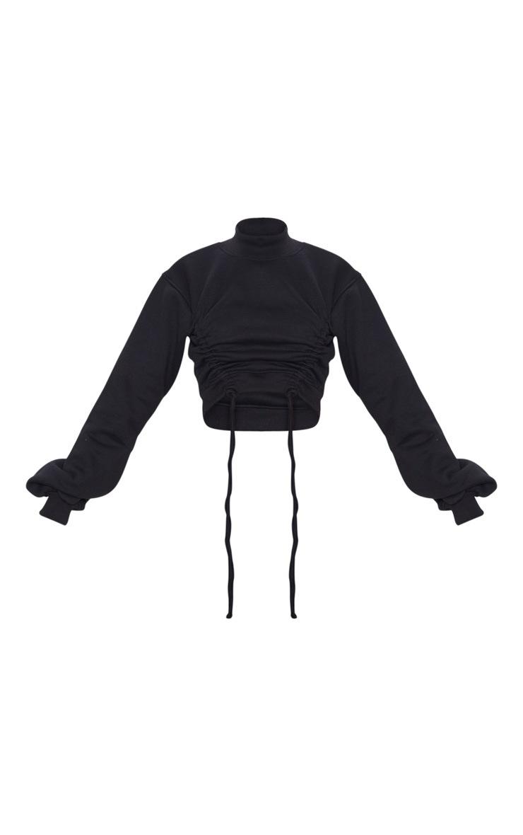 Black Ruched Tie Front Crop Sweater 5