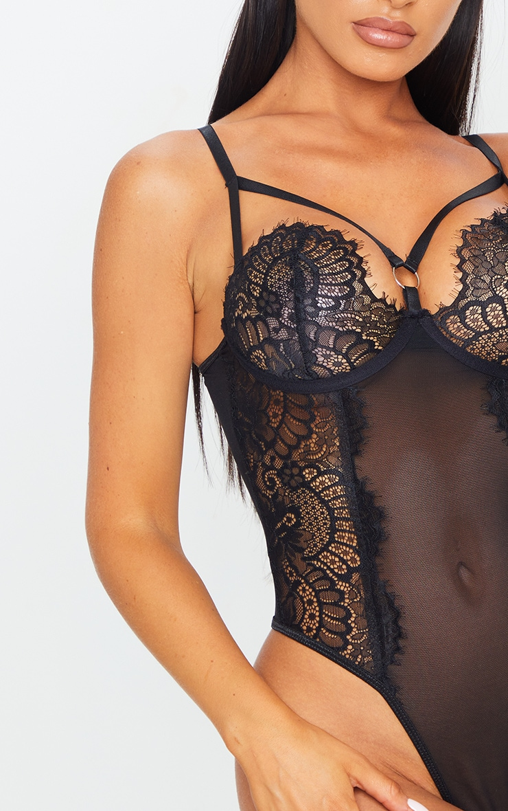 Black Ring Detail Lace Underwired Body 4