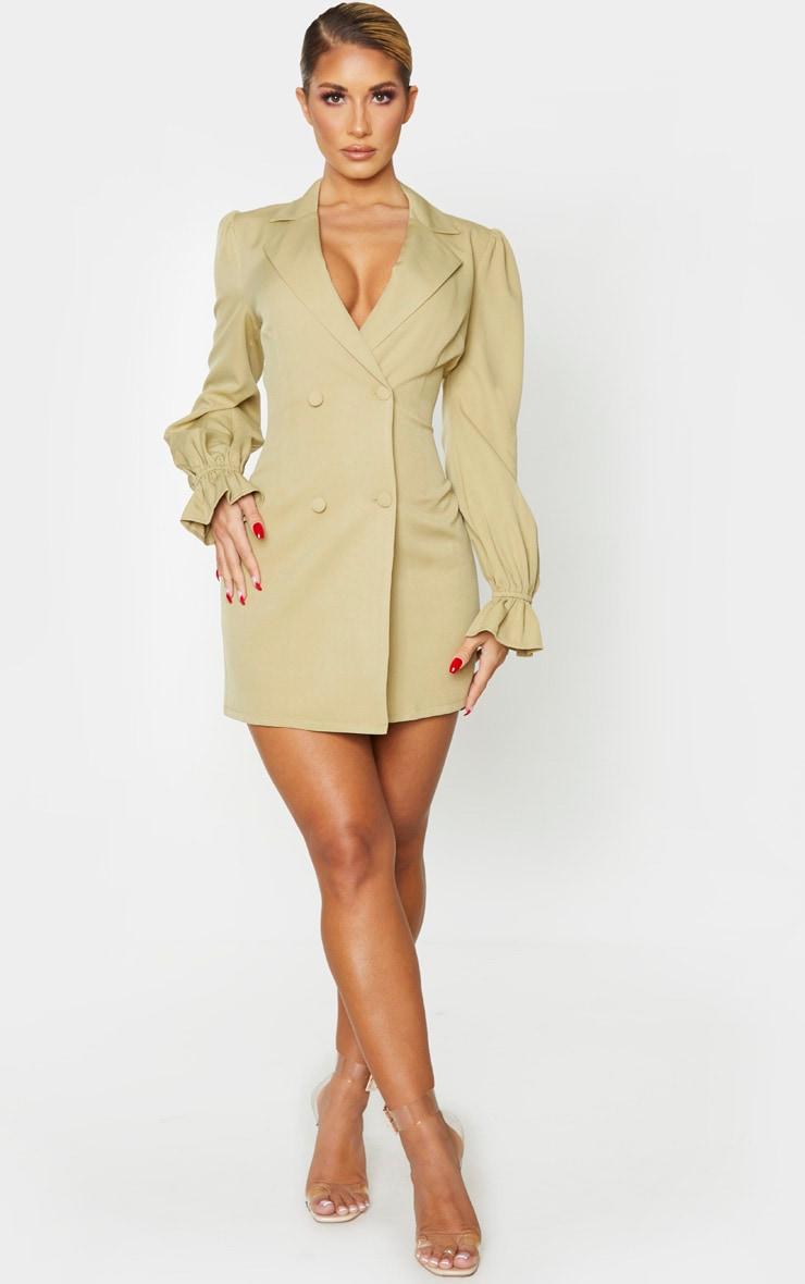 Soft Olive Frill Cuff Blazer Dress 1