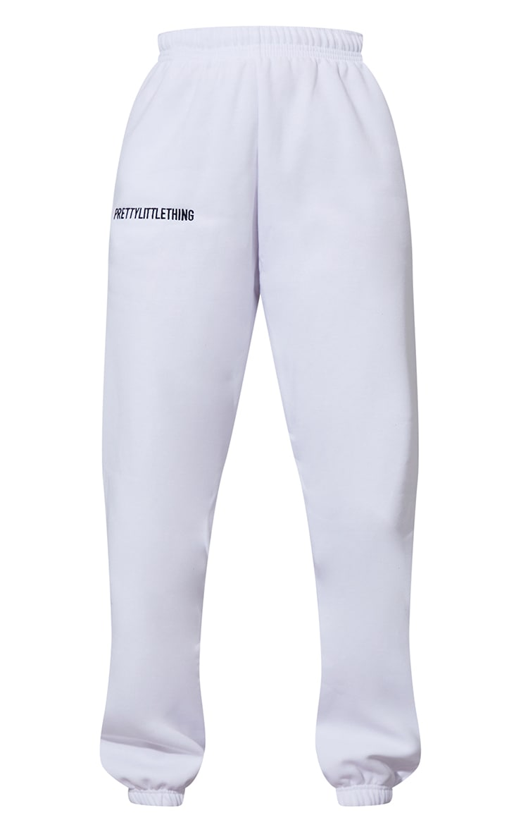 PRETTYLITTLETHING White Embroidered Graphic Joggers 5