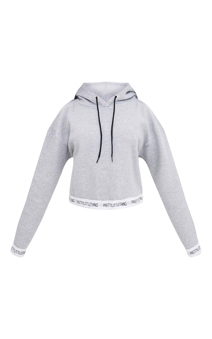 PRETTYLITTLETHING Grey Trim Cropped Hoodie 3