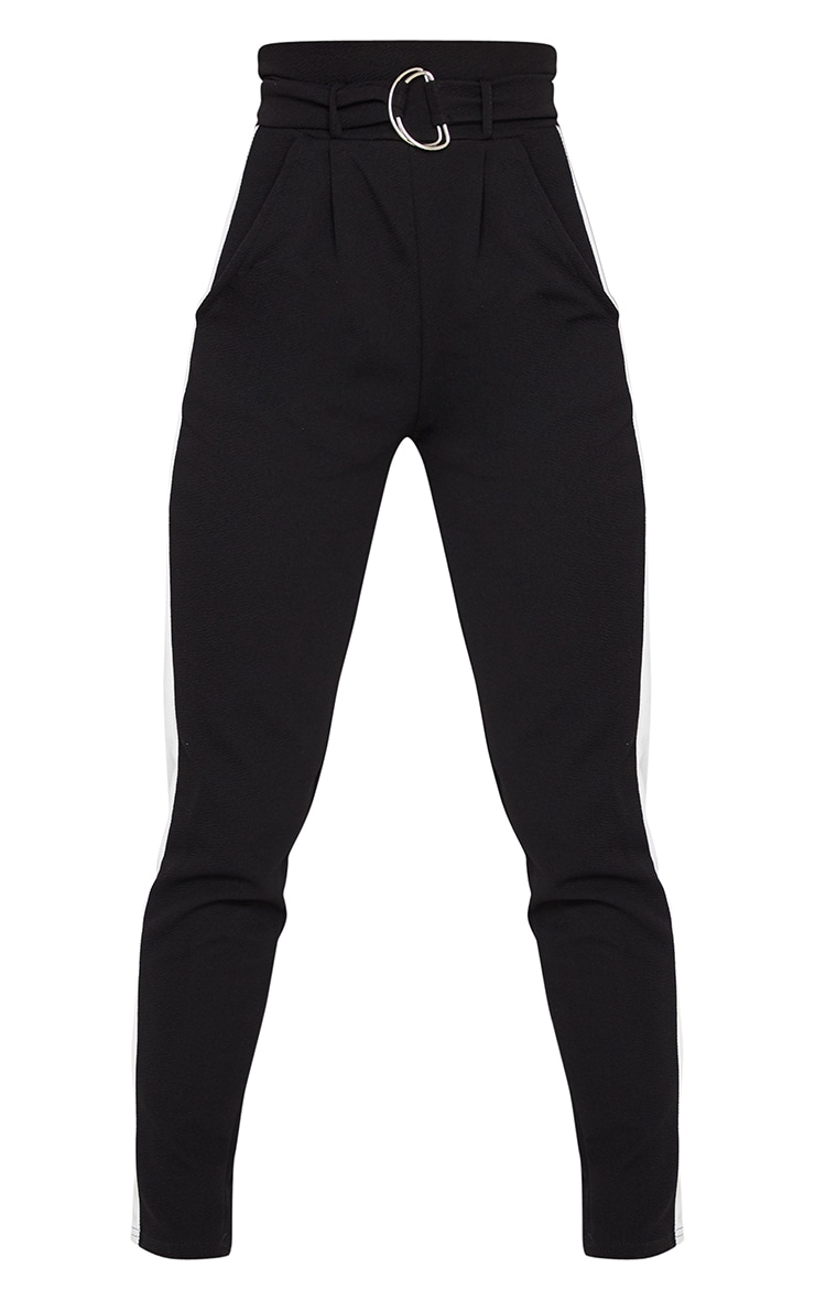 Black D Ring Contrast Panel Skinny Pants 5