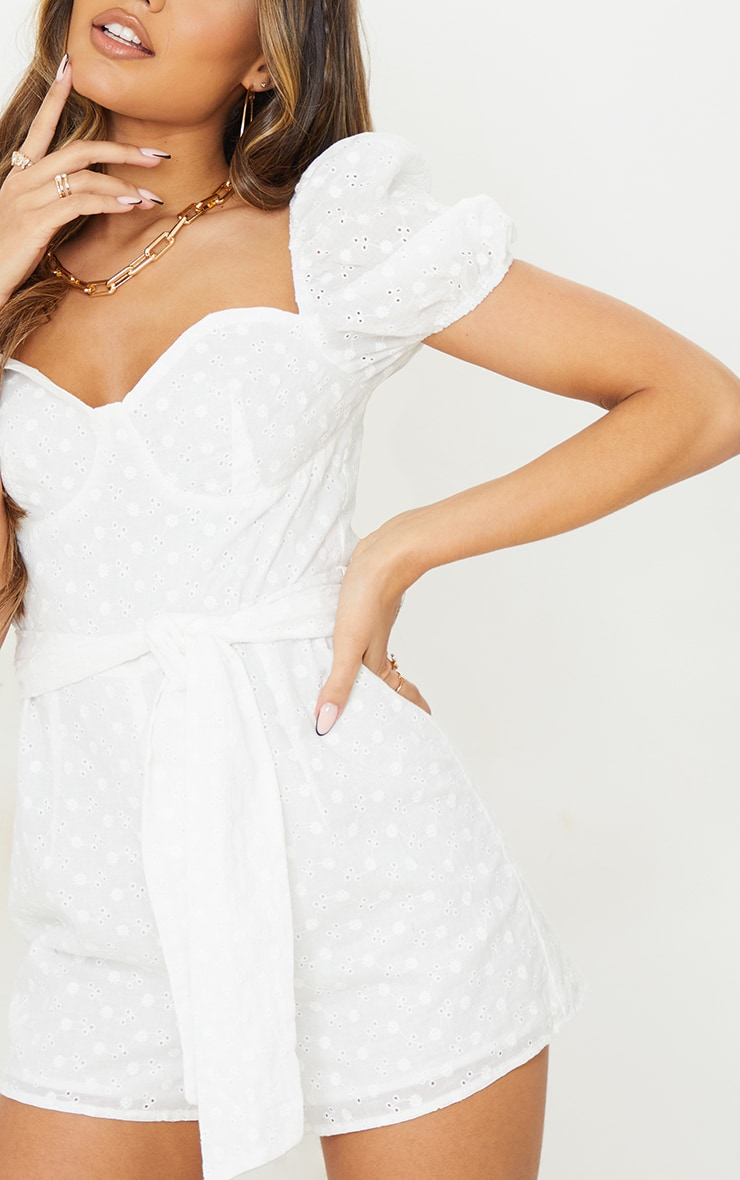 White Broderie Anglaise Puff Sleeve Cup Detail Playsuit 4
