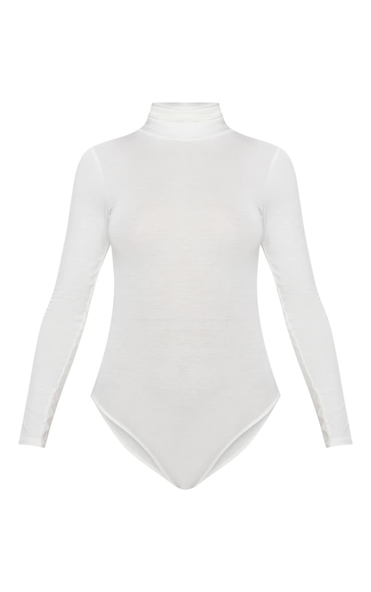 Cream Roll Neck Long Sleeve Bodysuit 3
