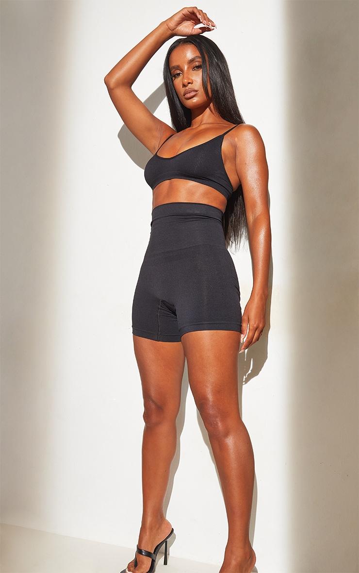 Black Shapewear High Waist Control Shorts 1