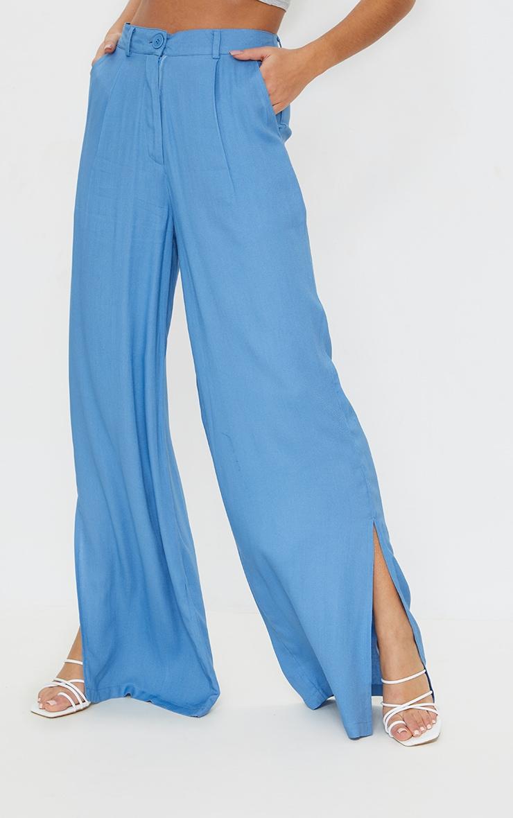 Blue Woven Wide Leg Extreme Split Pants 2