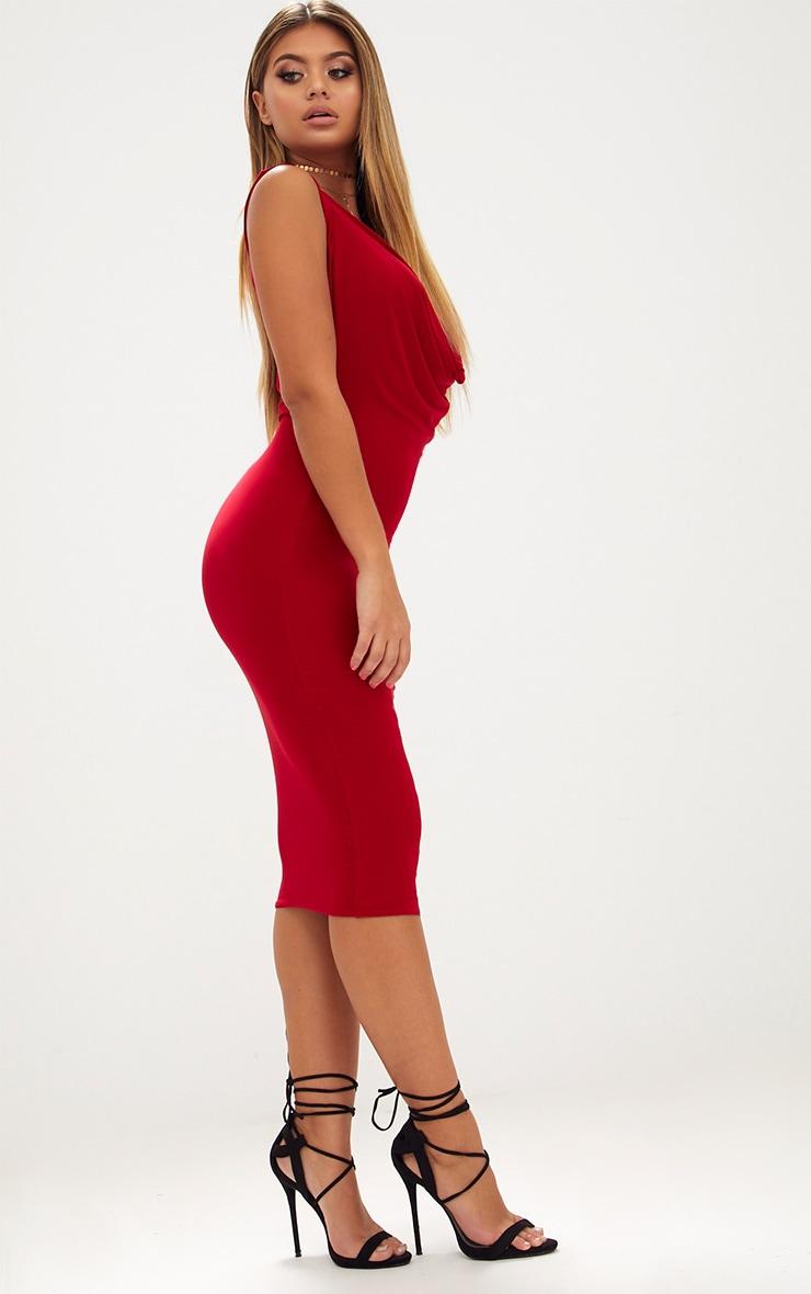 Red Slinky Cowl Neck Midi Dress 4