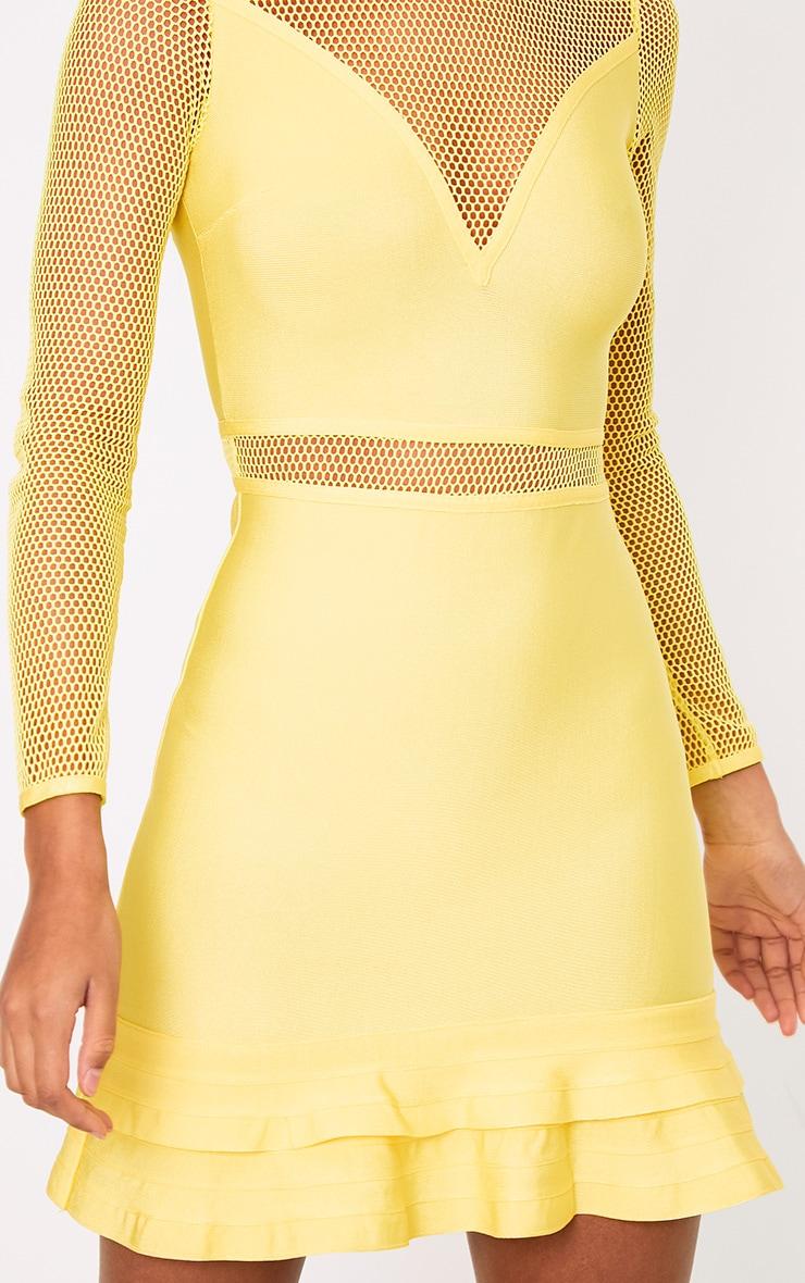 Yellow Fishnet Frill Hem Bandage Bodycon Dress 5